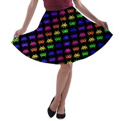 Invade the Space Rainbow A-line Skater Skirt.