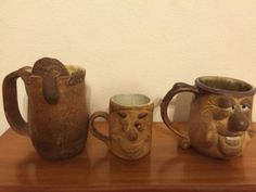 3 Art Pottery Collectible Mugs Funny Face Signed & Numbered Stoneware Brown Tan - http://glass-pottery.goshoppins.com/pottery-china/3-art-pottery-collectible-mugs-funny-face-signed-numbered-stoneware-brown-tan/