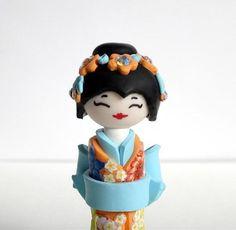Miniature Japanese Doll  Kokeshi Doll Pastel's Orange by efiwarsh, $40.00