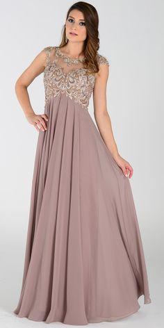 Empire Waist Mocha Gown Cap Sleeve #discountdressshop #mocha #alinegown #formalwear