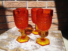 Fenton Red Amberina Daisy & Button Footed Water/Wine Goblets Vintage Glassware Fall Thanksgiving HolidayTable Decor Vintage 3DsVintage by 3DsVintage on Etsy