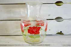 Glass Carafe by Anchor Hocking  Red and Green Colors  Patio