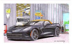 watercolor & ink painting of a 2014 Corvette parked in front of dream garage, Corvette muscle, iconic American Muscle, big muscle Corvette, Man Cave, bitchin garage, dream garage, dream car garage,