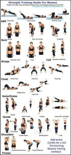 Strength Training Guide for Women Fitness Weights Exercise Health Healthy Living … - Fitness Training Guide Weights Workout For Women, Workout Plan For Women, Fitness Weights, Weights Women, Weight Excercises For Women, Lifting Weights For Beginners, Beginner Weight Lifting Routine, At Home Workouts For Women Full Body, Women Full Body Workout