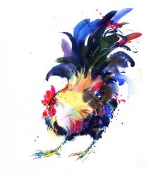 watercolour painting of a chicken Natalie Graham