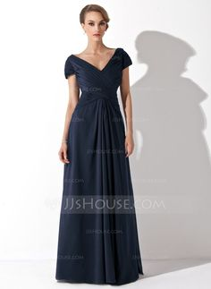 A-Line/Princess Off-the-Shoulder Floor-Length Chiffon Mother of the Bride Dress With Ruffle - Mother of the Bride Dresses - DressFirst Royal Dresses, Mob Dresses, Tea Length Dresses, Dressy Dresses, Plus Size Dresses, Formal Outfits, Blue Dresses, Bridesmaid Dresses, Dusty Rose Gown