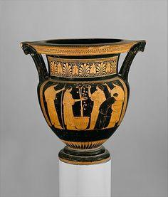 Attic Greek terracotta column-krater, Classical period