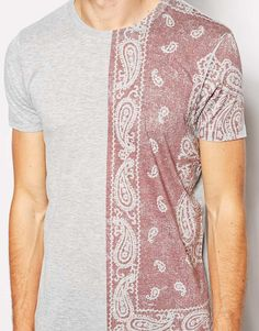 Asos Tshirt with Paisley Bandana Print in Gray for Men (Greymarl) | Lyst