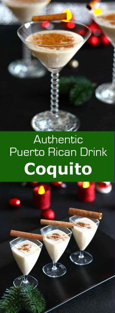 Coquito is the traditional Puerto Rican Christmas drink that is no other - eggnog with rum flavored with coconut. Cocktail Drinks, Fun Drinks, Yummy Drinks, Alcoholic Drinks, Bourbon Drinks, Drinks Alcohol, Refreshing Drinks, Cocktail Recipes, Christmas Cocktails