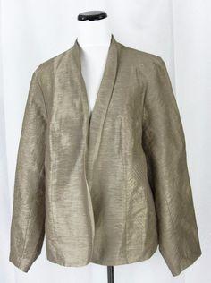 Coldwater Creek Gold Linen Embroidery Open Front Jacket Blazer size 2X 20W 22W #ColdwaterCreek #Blazer