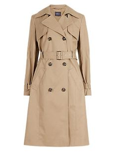Buttonsafe™ Pure Cotton Belted Trench Coat with Stormwear™