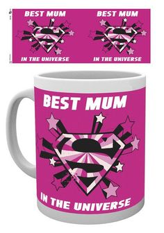 Superman You're My Hero Mothers Day Mug - Roze Moederdag Mok met superman logo en engelse tekst / quote.