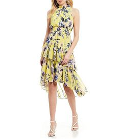 316f3250e9 Eliza J Floral Print Mock Neck Tiered Asymmetrical Hi-Low Hem Smocked Waist  Dress