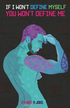 I Am Not A Joke, 2013 - digitaal - Daniel Arzola - Blauw wordt in deze serie veel gebruikt als mannelijke kleur, met daar tegenover veel roze als vrouwelijk