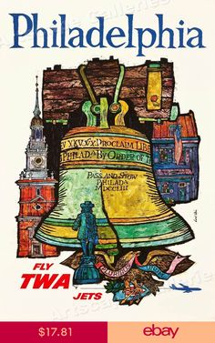 Philadelphia Carpenters/' Hall United States Vintage Travel Advertisement Poster