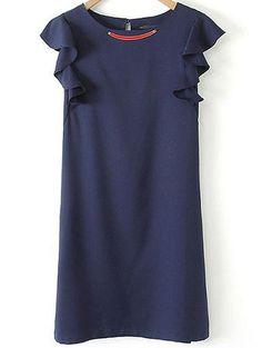 Shop Navy Round Neck Sleeveless Ruffle Slim Dress online. Sheinside offers Navy Round Neck Sleeveless Ruffle Slim Dress & more to fit your fashionable needs. Free Shipping Worldwide!