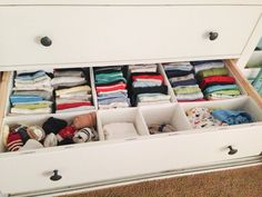 Nursery dresser organization - Skubb drawer organizers from Ikea and label maker!
