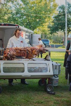 The spectacle of a pig roast is half the fun! A backyard party allows everyone to smell the aromas as the pig cooks on site and chat with the chef about the roasting process. Casual Wedding Reception, Niagara Region, Pig Roast, Block Party, Catering, Picnic, Backyard Parties, Menu, Cooking