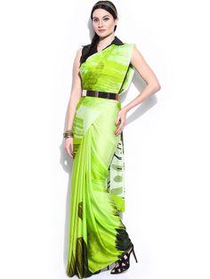Satya Paul Lime Green Georgette Printed Saree