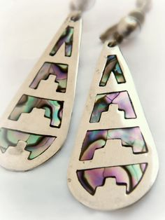 Sterling Silver Abalone Earrings - Vintage / Mexico