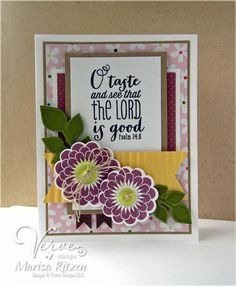 Card by Marisa Ritzen using Psalm 34:8 Plain Jane by Verve Stamps. #vervestamps
