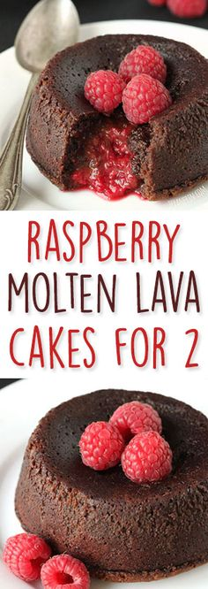 These Raspberry Molten Lava Cakes make the perfect Valentine's Day dessert for two! They can be made with all-purpose flour but also can be made grain-free, gluten-free, dairy-free and whole grai (Favorite Desserts Lava Cakes) Valentines Day Desserts, Holiday Desserts, Just Desserts, Delicious Desserts, Gluten Free Cakes, Gluten Free Desserts, Lava Cake Recipes, Dessert Recipes, Cupcakes