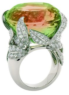 Van Cleef & Arpels' Arbre aux Songes ring with tourmaline and diamonds. Via Diamonds in the Library.