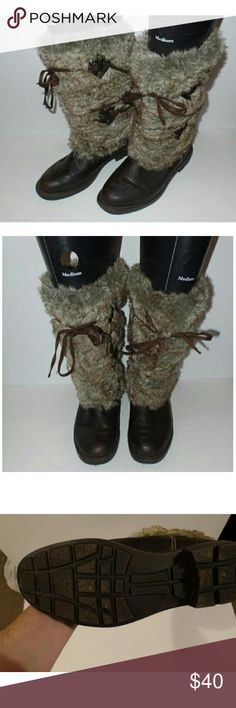 """9M Wanted """"Subzero"""" Boot Wanted brand """"Subzero"""" boot in a size 9M. Mix of faux leather and faux fur upper. Synthetic sole. Approximately 1.25"""" heel. Ties are adjustable. Only worn once for a couple of hours. As you can see from the sole there is no real wear. Wanted Shoes Winter & Rain Boots"""