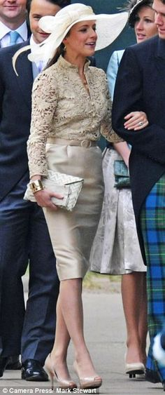 Fitting the occassion: Figure-hugging dresses suit naturally slim Emilia and Kate, nipping at the waist and sitting elegantly on the knee. Emilia is pictured at Kate's wedding in 2011, Kate at a Remembrance event in 2012 - Read more: http://www.dailymail.co.uk - At Kate's wedding to William in 2011