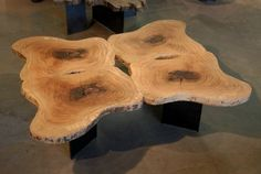 Rorschach inspired wood slice table