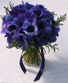 Handtied Bouquet made with Blue Anemones and Blue Muscari, grown and made by Sussex Cutting Garden.