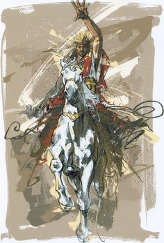 Revelation Then i saw heaven opened and behold a white horse. And HE who sat on him was called FAITHFUL and TRUE, and in righteousness HE judges and makes war. Catholic Art, Religious Art, Warrior King, Jesus Painting, Jesus Is Coming, Bride Of Christ, Prophetic Art, Jesus Art, Biblical Art