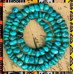 "Mexican Nacozari Turquoise Beads 16"" Strd Genuine Natural Blue Color"
