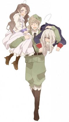 Fem!Austria, Fem!Prussia, and Male!Hungary .... I need a picture of them like this with their normal genders....
