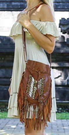 Dreamweaver Genuine Leather Crossbody Purse Boho Fringe Indian Breastplate Drawstring Messenger Bag