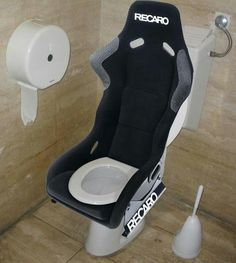 Nascar fans , Recaro Toilet for the Man Cave Car Part Furniture, Automotive Furniture, Automotive Group, Man Cave Garage, Room Interior, Interior Design Living Room, Man Bathroom, Garage Bathroom, Washroom