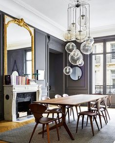 Interested in blowing the minds of all of your dinner guests? Just add a mesmerizing chandelier, and voila - your visitors will be rendered speechless.  @parisianfloors