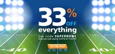 Huge bonus flash sale for you: Score 33% off sitewide for 4 days only with code SUPERBOWL starting right now.