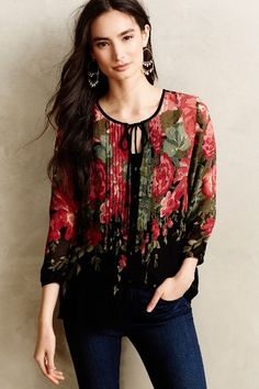 Pleated Peonies Blouse - anthropologie.com
