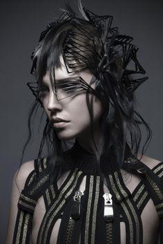 Photo Work, Black White Red, Fabric Jewelry, Crazy Hair, Hair Art, Wearable Art, Dreadlocks, Wonder Woman, Cosplay