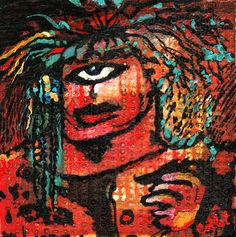 "Acrylic on wood panel/Acrylique sur panneau de bois - 6"" X 6""/15 x 15 cm Cyclops, Good Day, Panel, Texture, Acrylic Paintings, Board, Buen Dia, Surface Finish, Good Morning"