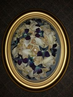 Preserved Wedding Bouquet in standard gold oval frame from Lasting Memories Floral Preservation  248.375.7755 www.LMFP.net