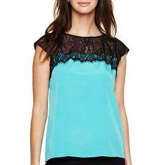 Allen B.® Short-Sleeve Zip-Back Lace Blouse - jcpenney