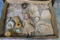 "7.5"" Antique SFBJ BISQUE HEAD DOLL c1880 in Original SFBJ BOX & TROUSSEAU Child Doll, Baby Dolls, Magic Bottles, Presentation Cards, Doll Display, Bisque Doll, Miniture Things, Antique Toys, Vintage Cards"