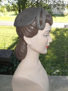 1950s Vintage Gray Synthetic Straw Cocktail by MyVintageHatShop