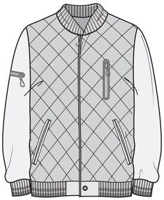 Collection of Varsity Jacket Technical Drawing Flat Drawings, Flat Sketches, Technical Drawings, Fashion Sketchbook, Fashion Sketches, Drawing Fashion, Clothing Sketches, Dress Sketches, Vetements T Shirt