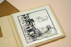 These Alice in Wonderland invitations for a wedding are designed as a storybook and have a silk cover. Each page contained whimsical elements and quotes. Paris Wedding, Wedding Book, Wedding Cards, Alice In Wonderland Invitations, Alice In Wonderland Wedding, Fairytale Wedding Invitations, Storybook Wedding, Tea Party Invitations, Book Themes