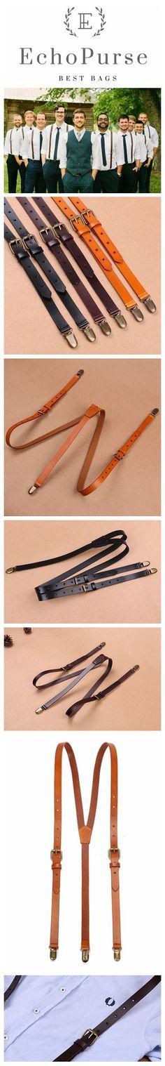 Black Coffee Groomsmen Wedding Suspenders, Genuine Leather Suspenders, Accessories 0191