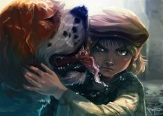 Halfling with a brown cap hugging a riding dog. Luck the thief halfling by Roberto009.deviantart.com on @deviantART.