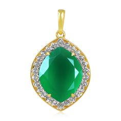 Gold Plated Green Onyx And White Topaz Studded Pendeant In Two Tone Sterling Silver